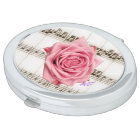 Vintage Pink Rose and Music Oval Compact Mirror