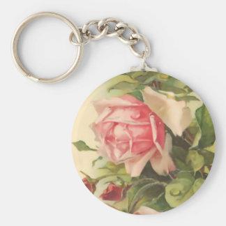 Vintage Pink Rose Basic Round Button Keychain