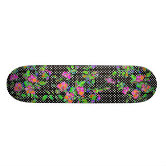 Vintage pink rose - black and white polka-dots custom skateboard
