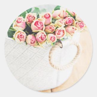 Vintage Pink Rose Bouquet Round Sticker