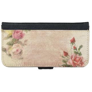 Vintage Pink Rose Collage iPhone 6 Wallet Case