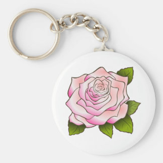 Vintage Pink Rose Drawing Keychains