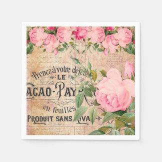 Vintage pink rose floral garden party napkins