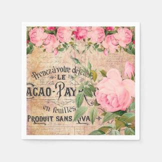 Vintage pink rose floral garden party napkins disposable napkins