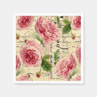 Vintage pink rose floral garden party napkins paper napkins