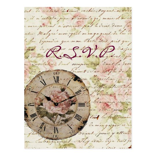 Vintage Pink Rose Floral steampunk Wedding RSVP Postcard