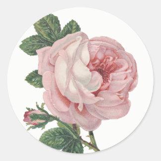 Vintage Pink Rose Flower Shabby Chic Wedding Classic Round Sticker