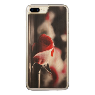 Vintage Pink Rose Flowers Carved iPhone 8 Plus/7 Plus Case