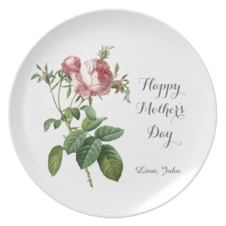vintage pink rose flowers happy mother's day party plate
