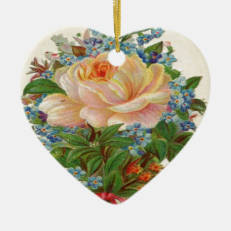 Vintage Pink Rose, Happy Birthday Mother Ceramic Heart Ornament