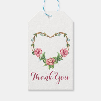 Vintage Pink Rose Heart Floral Thank You Gift Tags