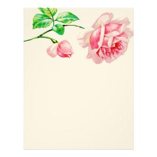 Vintage Pink Rose Letterhead