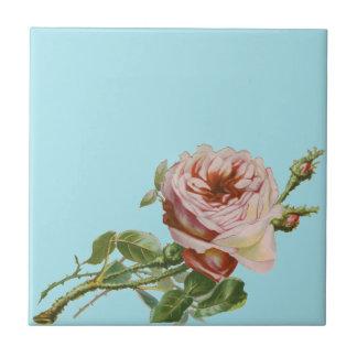 Vintage Pink Rose on Pale Aqua Ceramic Tiles