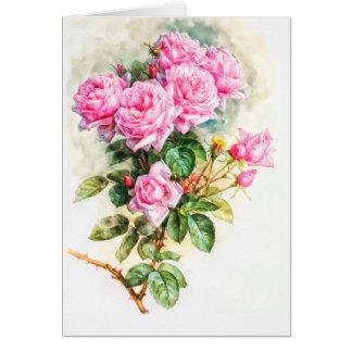 Vintage Pink Rose Painting Restored Blank Card