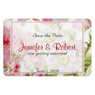 Vintage Pink Rose Posh Wedding Save the Date Rectangular Photo Magnet