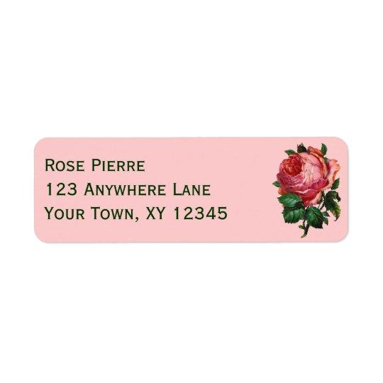 Vintage Pink Rose Return Address Label