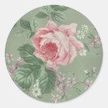 Vintage Pink Rose Round Sticker