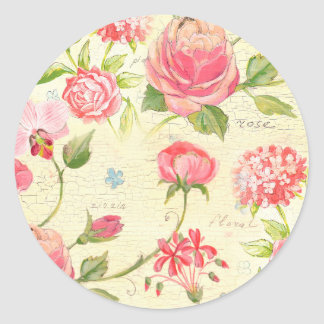 Vintage Pink Rose Rustic Cottage Chic French Classic Round Sticker
