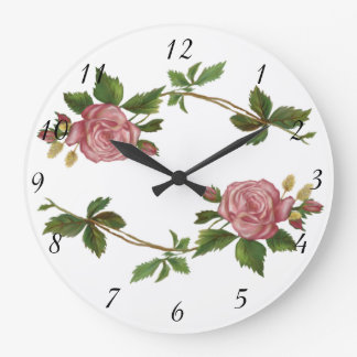 Vintage Pink Rose Sprays Large Clock