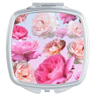 Vintage Pink Rose Square Duo Mirror Compact Vanity Mirrors
