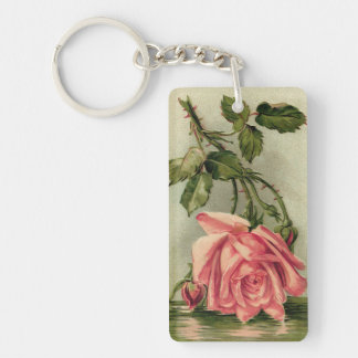 Vintage Pink Rose Upside Down in Water Double-Sided Rectangular Acrylic Keychain
