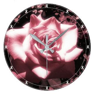 Vintage Pink Rose White Ribbon Large Clock