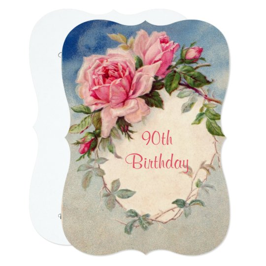 Vintage, Pink Roses, 90th Birthday, Invitation