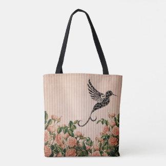 Vintage Pink Roses and Artistic Black Hummingbird Tote Bag