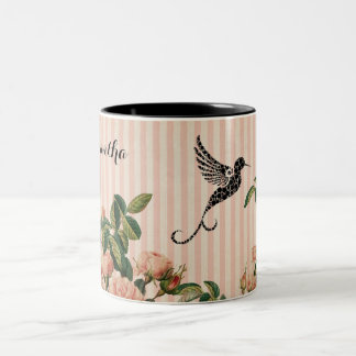 Vintage Pink Roses and Artistic Black Hummingbird Two-Tone Coffee Mug