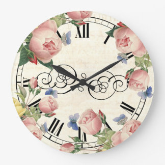 Vintage Pink Roses and Blue Butterflies Clocks