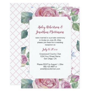 Vintage Pink Roses and Greenery Lattice Work | Card