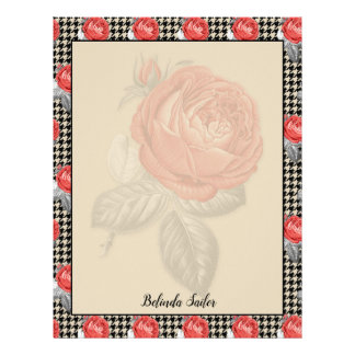 Vintage pink roses and houndstooth design letterhead