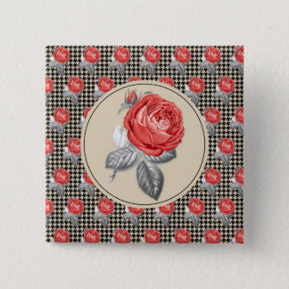 Vintage pink roses and houndstooth pattern 2 inch square button