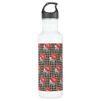 Vintage pink roses and houndstooth pattern 710 ml water bottle