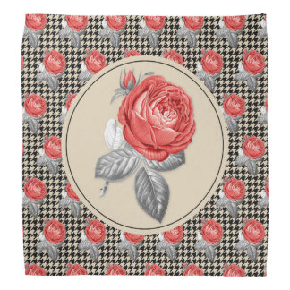 Vintage pink roses and houndstooth pattern bandana