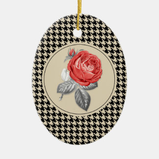 Vintage pink roses and houndstooth pattern ceramic ornament