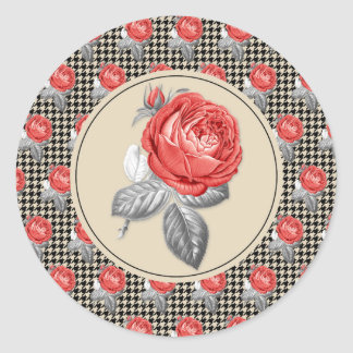 Vintage pink roses and houndstooth pattern classic round sticker