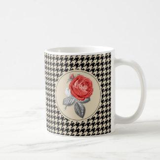 Vintage pink roses and houndstooth pattern coffee mug