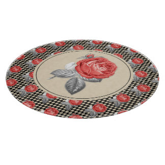 Vintage pink roses and houndstooth pattern cutting board