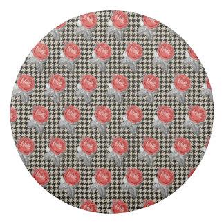Vintage pink roses and houndstooth pattern eraser