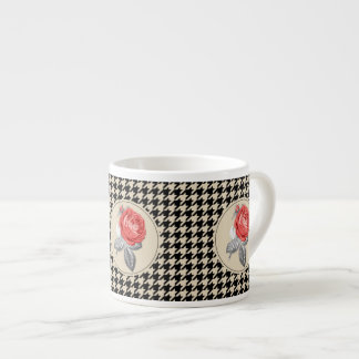 Vintage pink roses and houndstooth pattern espresso cup