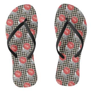 Vintage pink roses and houndstooth pattern flip flops