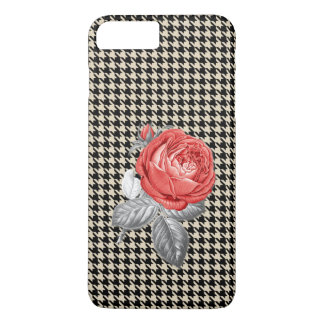 Vintage pink roses and houndstooth pattern iPhone 8 plus/7 plus case