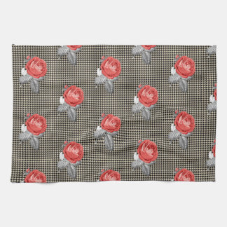 Vintage pink roses and houndstooth pattern kitchen towel