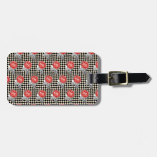 Vintage pink roses and houndstooth pattern luggage tag
