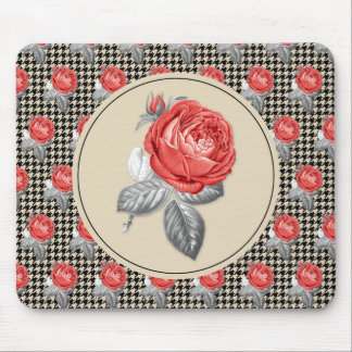 Vintage pink roses and houndstooth pattern mouse pad