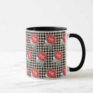 Vintage pink roses and houndstooth pattern mug