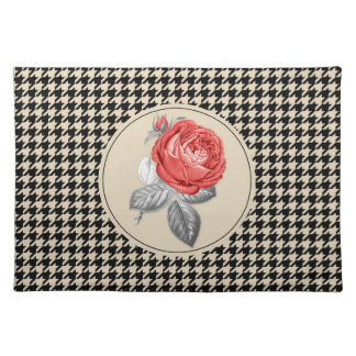 Vintage pink roses and houndstooth pattern placemat
