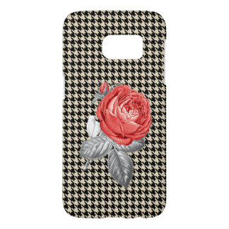 Vintage pink roses and houndstooth pattern samsung galaxy s7 case