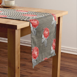 Vintage pink roses and houndstooth pattern short table runner